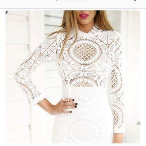 SheInside Lace Long Sleeve Short Dress